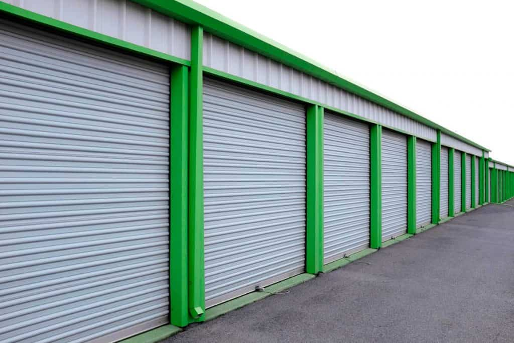 Car storage units with green painted columns