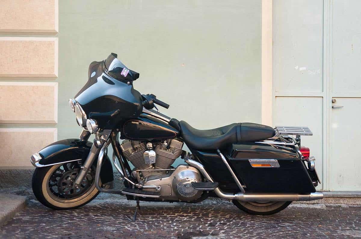 Chopper motorcycle near a wall
