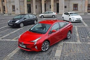 Exposition of four generations Toyota Prius vehicles