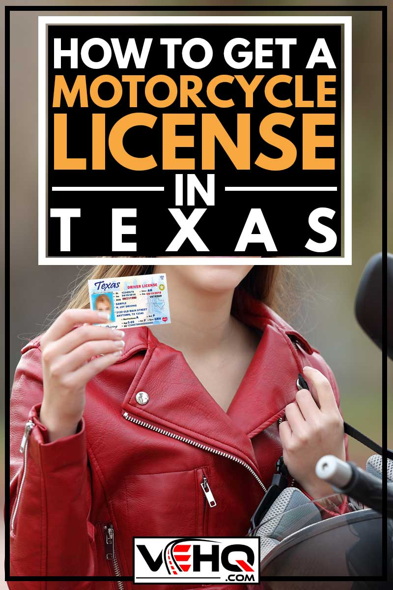 Happy biker girl showing a texas driver's license card on the street, How to Get a Motorcycle License in Texas