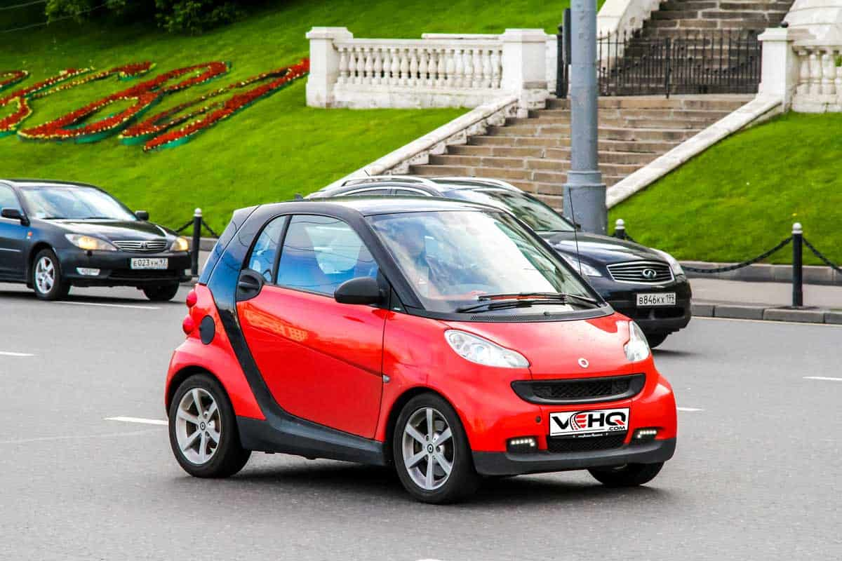 Motor car Smart Fortwo at the city street.