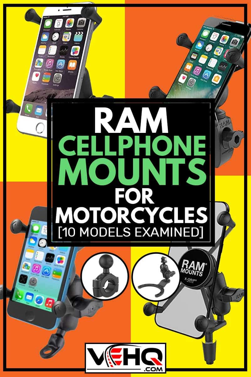 A collage of RAM Cellphone mount accessories for motorcycles, Ram Cell Phone Mounts for Motorcycles [10 Models Examined]