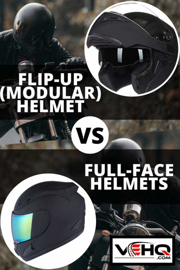Collage of a motorcycle flip-up helmet and full-face helmet, Flip-up (Modular) Helmet vs Full-face Helmets