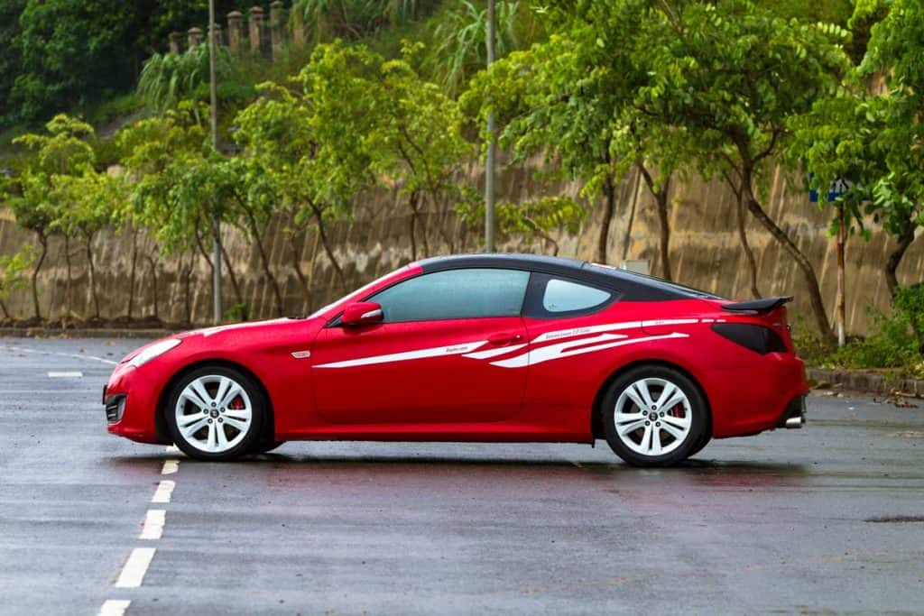 Hyundai Genesis Coupe car on test drive road