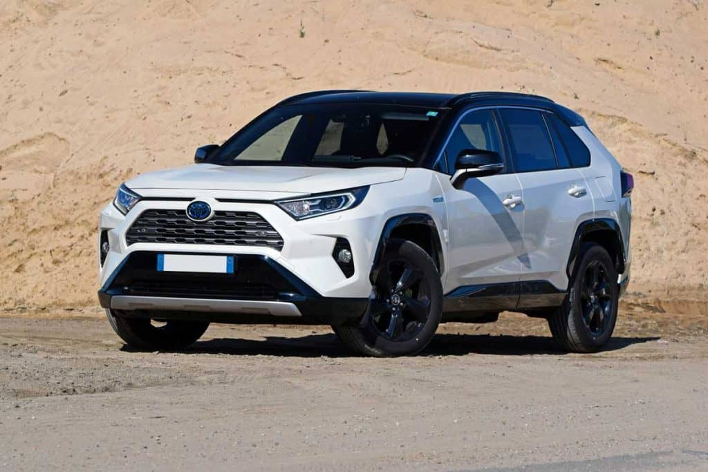 2019 White toyota rav4 parked near rocky mountain