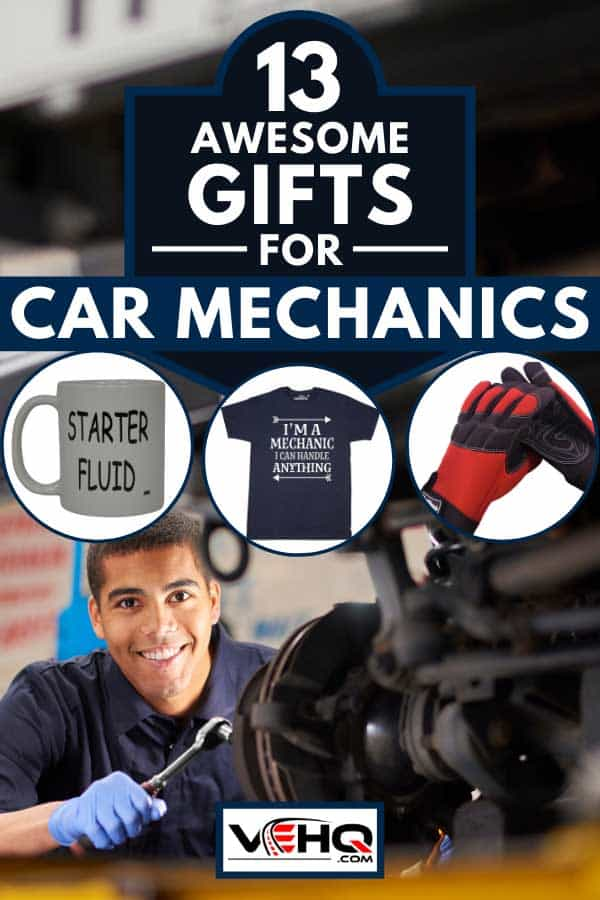 Collage of awesome gifts for car mechanics with a young mechanic working on the background, 13 Awesome Gifts For Car Mechanics