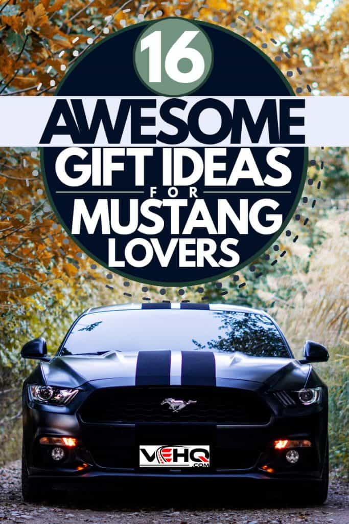 Luxurious black Ford Mustang on a rocky patch of road with dim lights turned on, 16 Awesome Gift Ideas for Mustang Lovers