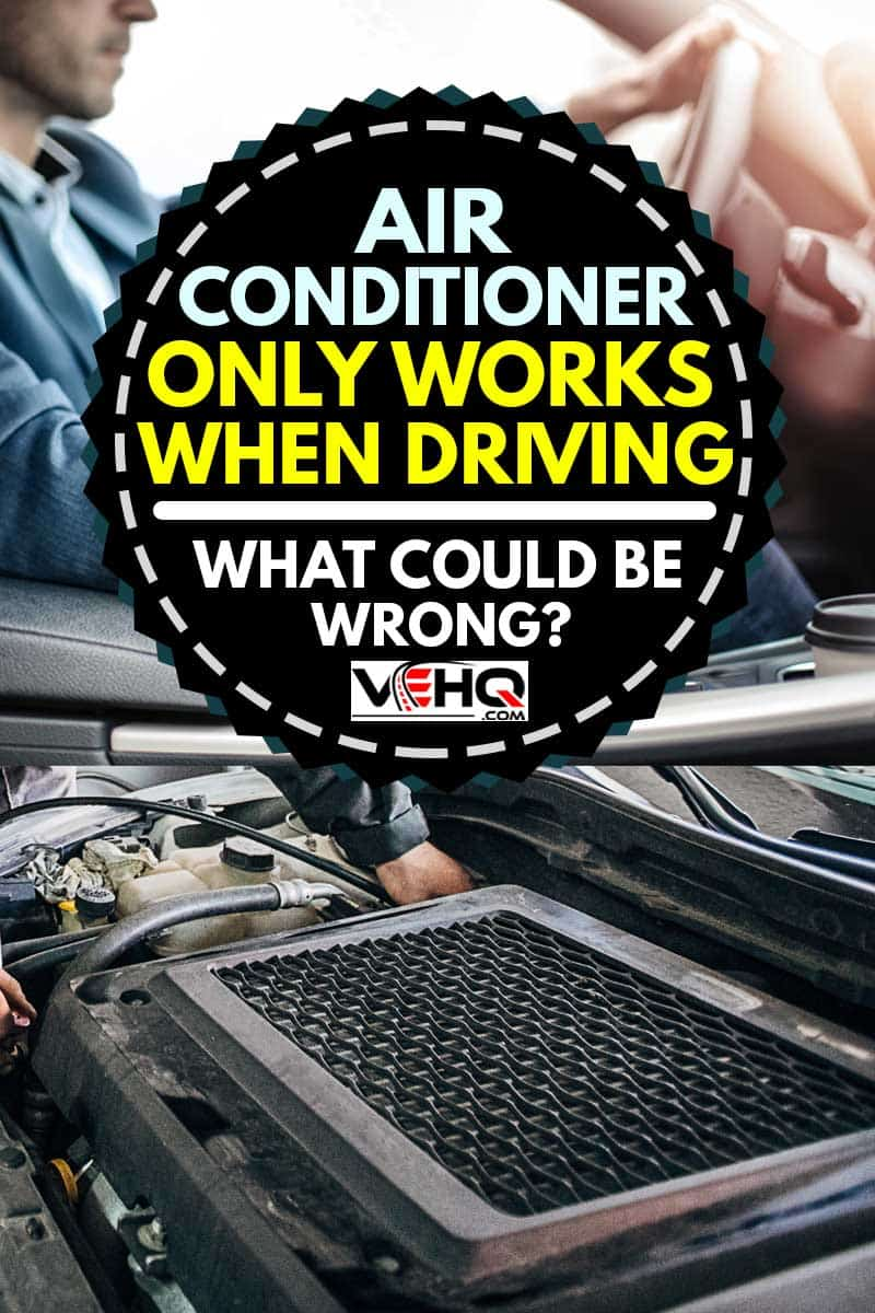 A collage of a man in coat driving and mechanic recharging car air-condition in auto repair shop, Air Conditioner Only Works When Driving - What Could Be Wrong?