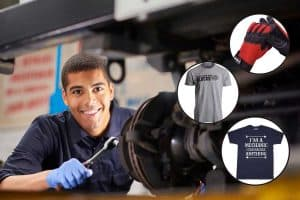 Collage of awesome gifts for car mechanics with a young mechanic on the background smiling while working on a car in a garage repair shop, 13 Awesome Gifts For Car Mechanics