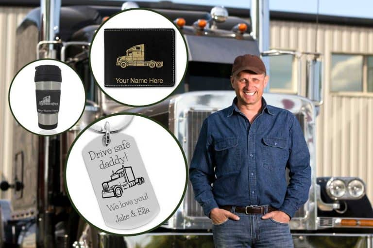 Collage of personalized truck driver gifts with truck driver in front of his truck at the background, 10 Ideas for Personalized Truck Driver Gifts