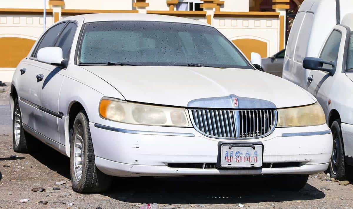 Lincoln Town Car in the city street