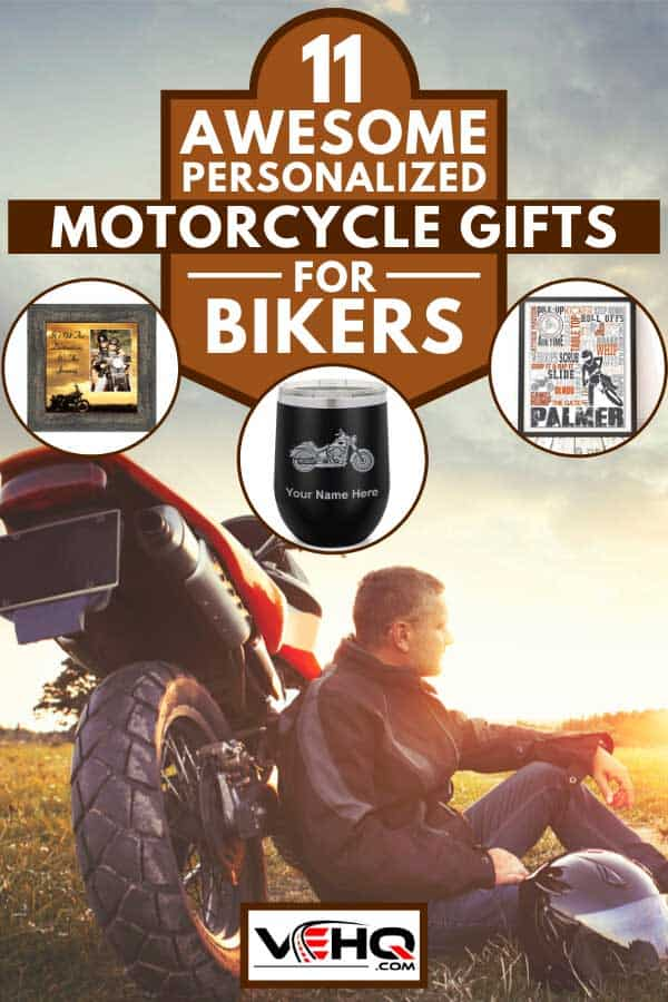 Collage of personalized motorcycle gifts with man relaxing during sunset in countryside with his motorbike, 11 Awesome Personalized Motorcycle Gifts for Biker