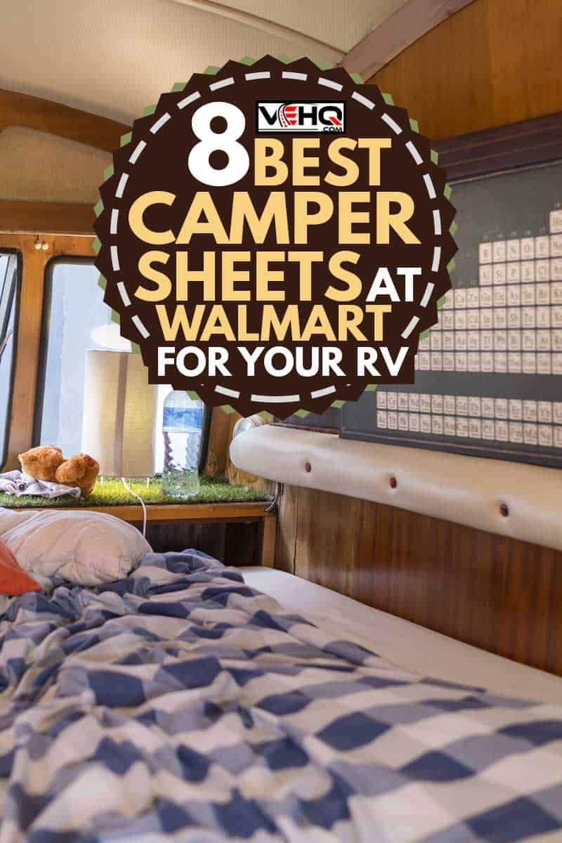 Close-up of empty bed in camper trailer. Pillows and crumbled sheet in caravan, 8 Best Camper Sheets at Walmart for Your RV