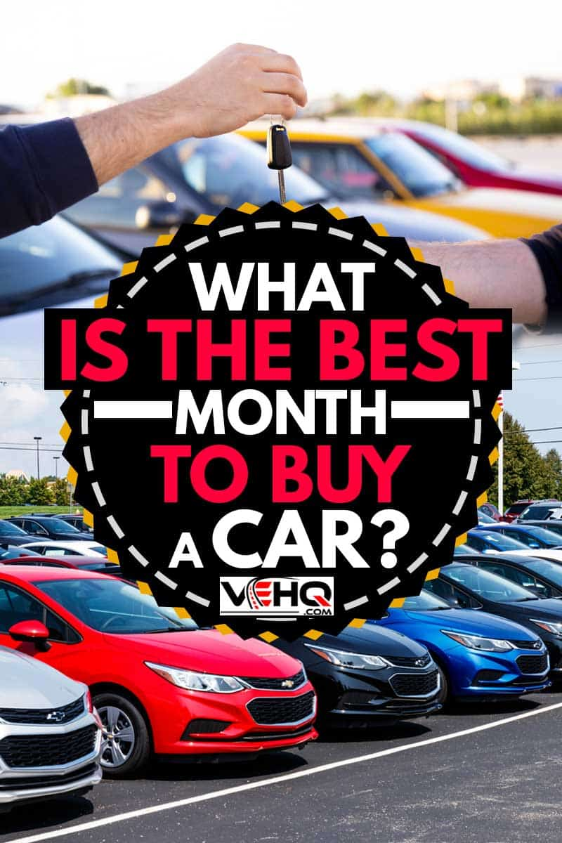 A collage of a man buying a new car at car store,What Is The Best Month To Buy A Car?