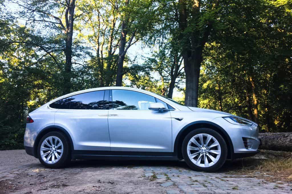 A gray Tesla Model S parked on a park