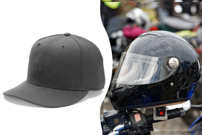 A helmet and a hat collage photo, Can You Wear a Hat Under a Motorcycle Helmet?
