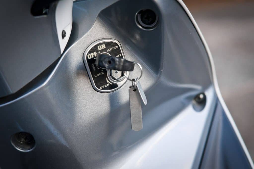 A motorcycle key on a off angle