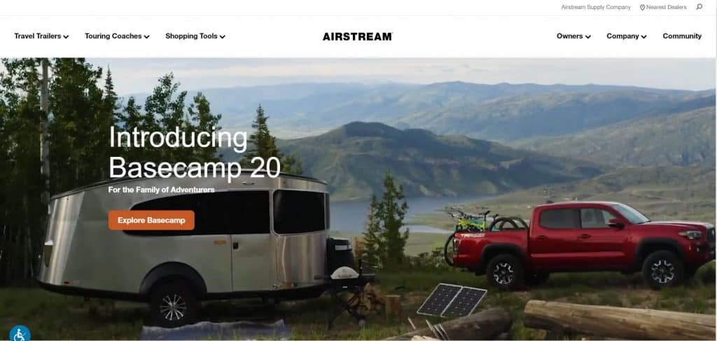 Airstream website homepagea