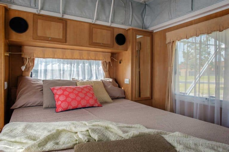 Bedroom with camper sheets inside the camper, 8 Best Camper Sheets at Walmart for Your RV