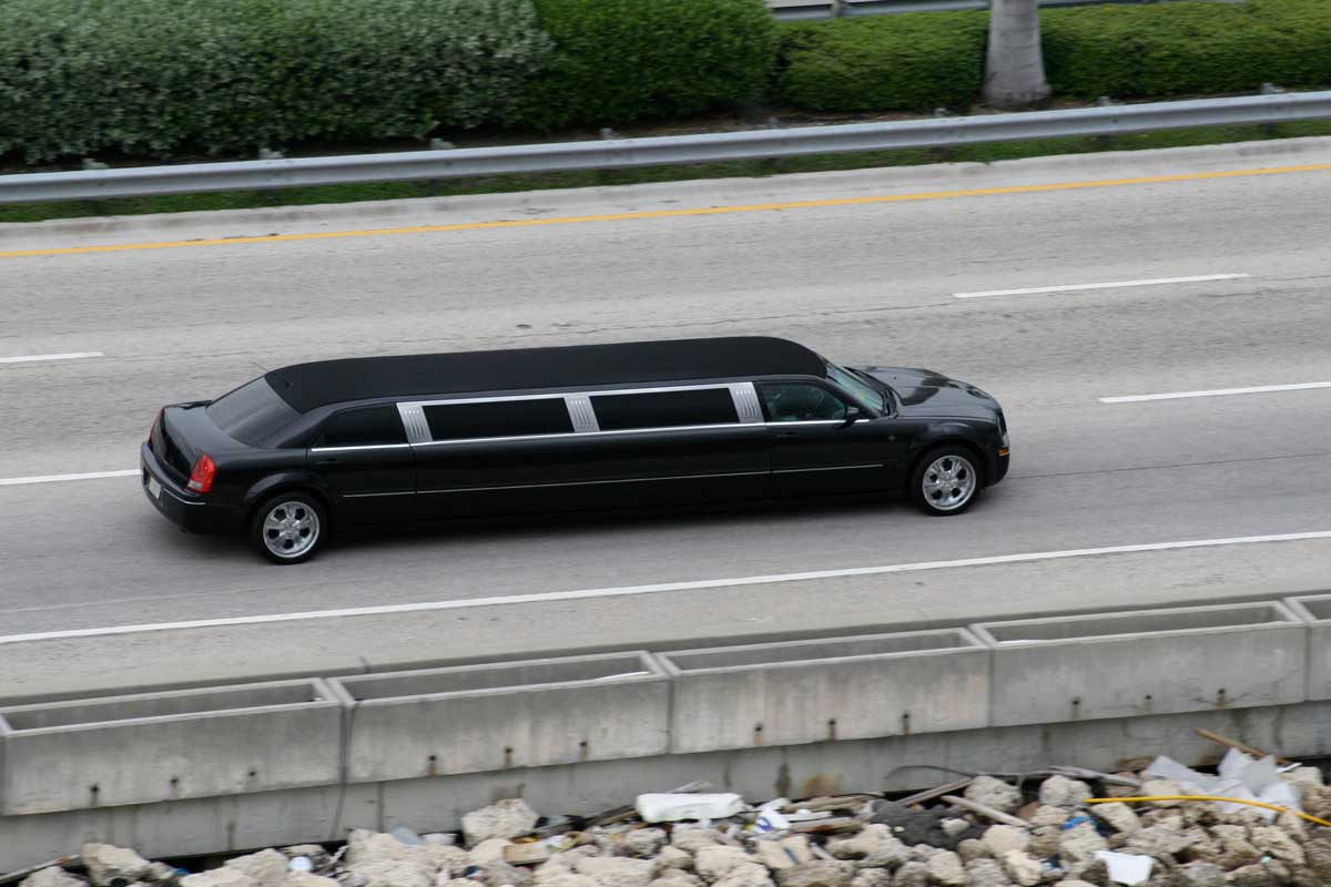 Black Limousine on the road