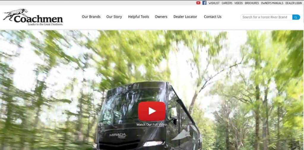Coachmenrv website homepage