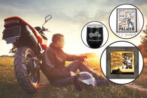 Collage of personalized motorcycle gifts with man relaxing during sunset with his motorbike, 11 Awesome Personalized Motorcycle Gifts for Bikers