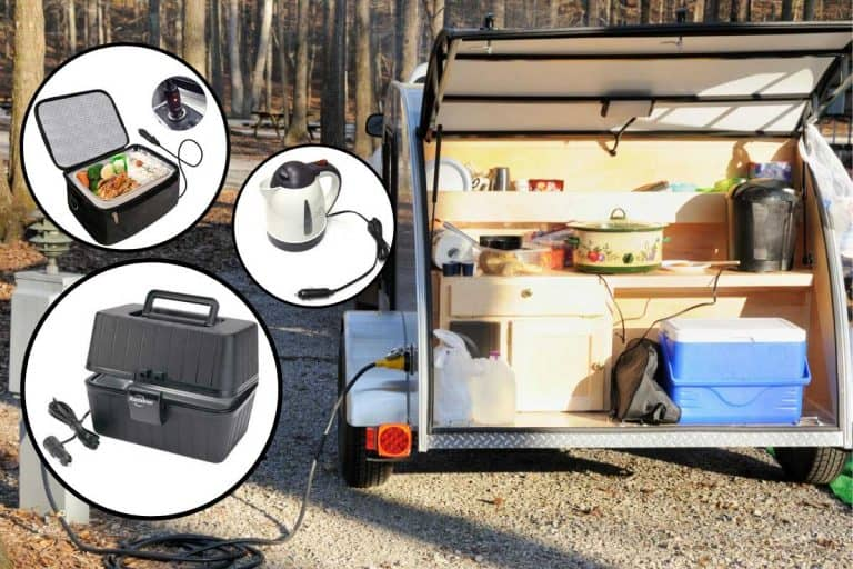 Collage of portable ovens and food heaters with kitchen on the tailgate of a small rv on the background, 12 Portable Ovens and Food Heaters For Your Car