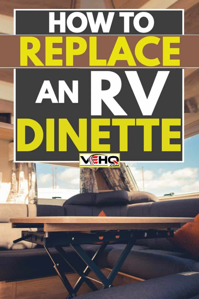 An RV dinette with purple couches and brown pillows, How to Replace an RV Dinette
