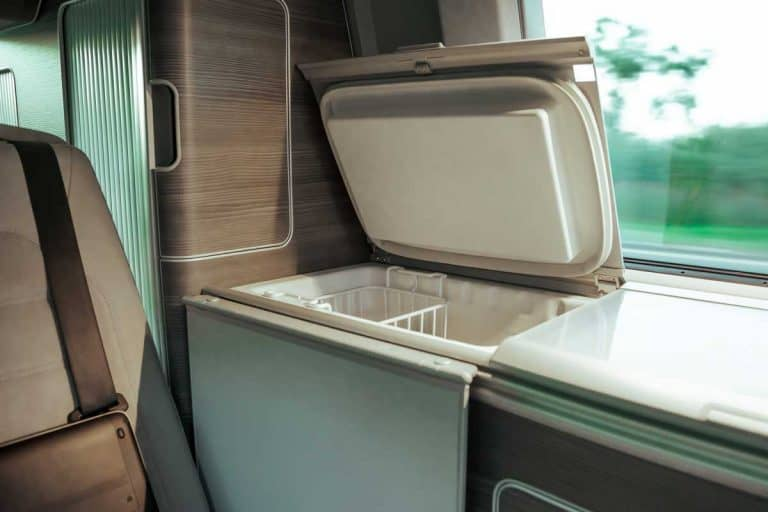 Interior of a modern RV with refrigerator, 9 Best RV Freezers [Inc. FAQs for choosing the best one for your needs]