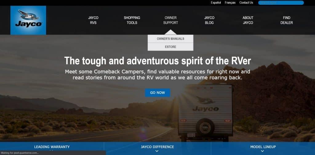 Jayco website homepage