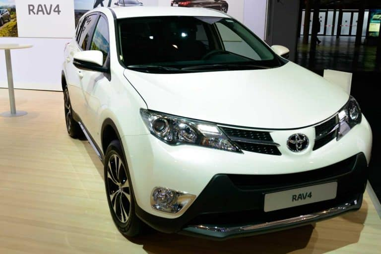 New Toyota RAV4 compact SUV on display at the motor show, Can a Toyota Rav4 Pull a Trailer? [Towing Capacity and more]