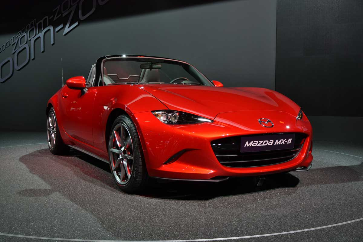 Presentation of the fourth generation of Mazda MX-5 at the Paris Motor Show in France.