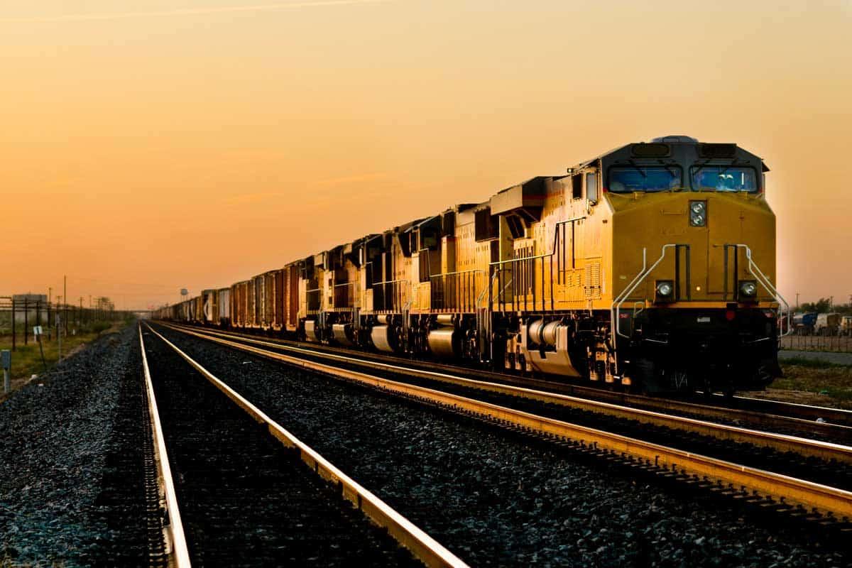 Railroad locomotive traveling across Arizona