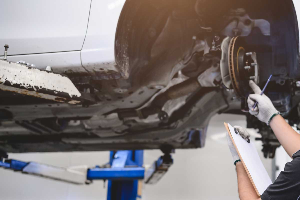 Safety suspension inspection check service maintenance for customer before road trip concept