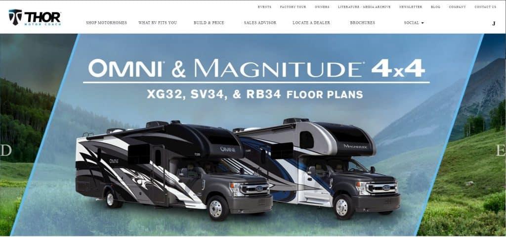 Thormotorcoach website homepage