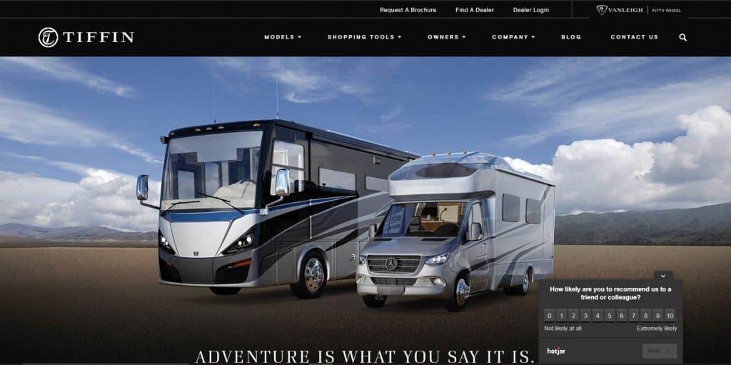 Tiffin website homepage