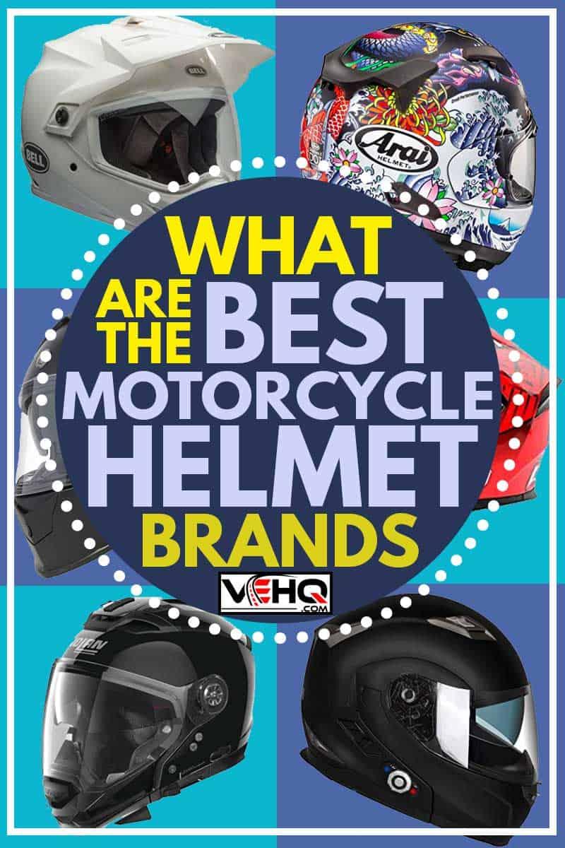 A collage of six best motorcycle helmet brands, What Are The Best Motorcycle Helmet Brands?
