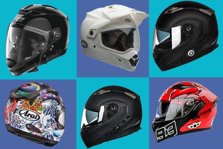 A collage of six best motorcycle helmet brands, What Are The Best Motorcycle Helmet Brands?