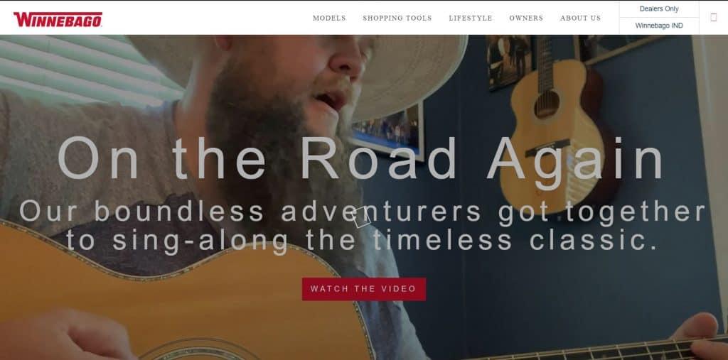 Winnebago website homepage