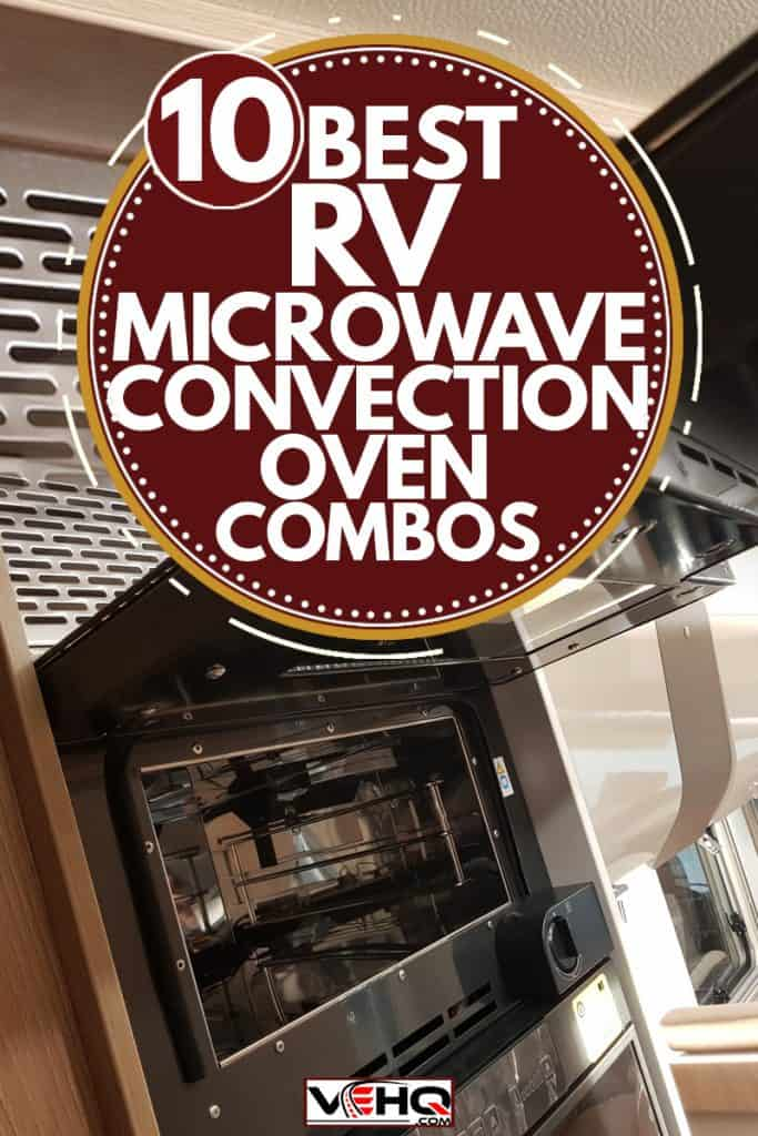 A microwave convection placed on the counter top with utensils on the side,10 Best RV Microwave Convection Oven Combos
