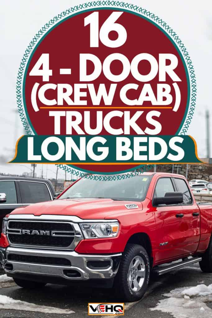 A Red dodge Ram Tradesman Crew Cab parked on a snowy parking lot, 16 4-Door (Crew Cab) Trucks with Long Beds