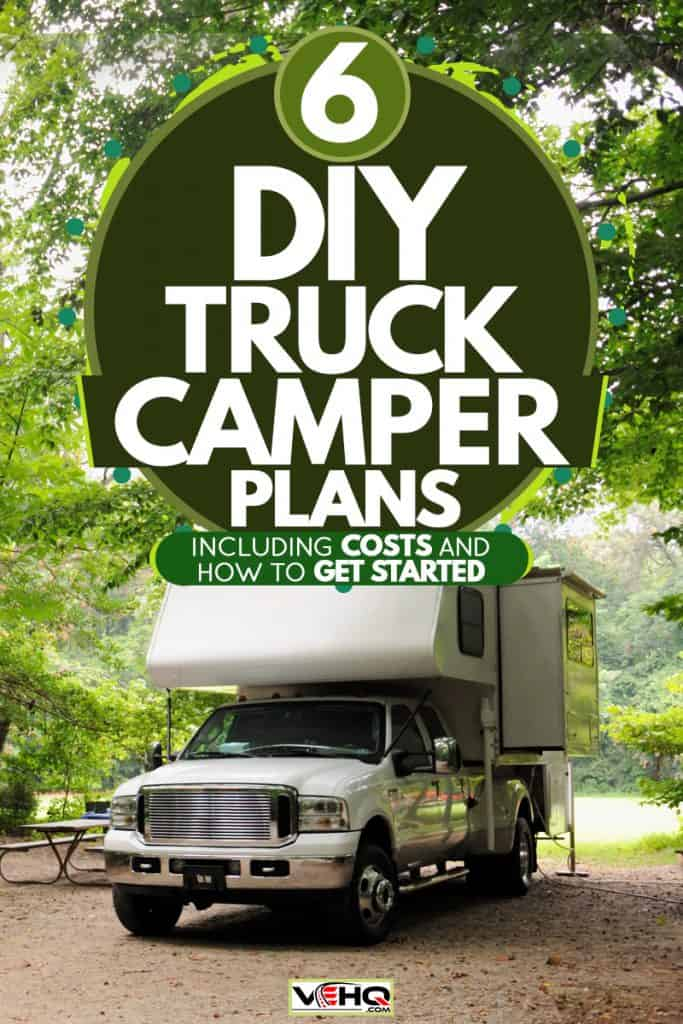 A truck camper parked on the side of the road with another motorhome on the side, 6 DIY Truck Camper Plans [Inc. Costs And How To Get Started]