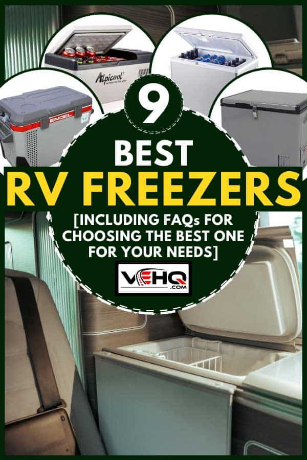 Collage of RV freezers with modern RV with refrigerator on the background, 9 Best RV Freezers [Inc. FAQs for choosing the best one for your needs]
