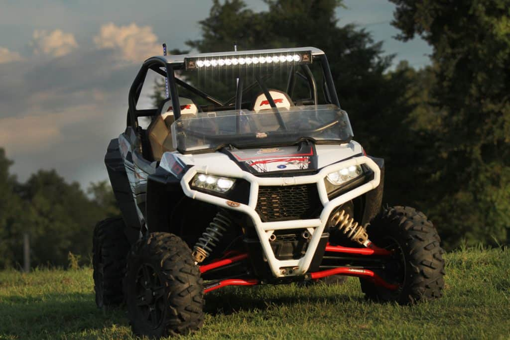 A Polaris RZR parked on a grassy field, How Much Does Polaris RZR Weigh?