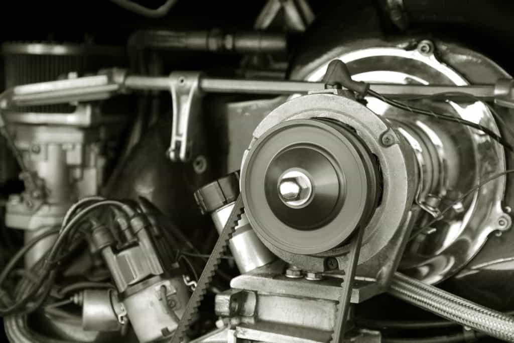 A close up photo of a car engine