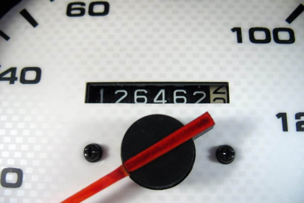 A close up photo of an odometer