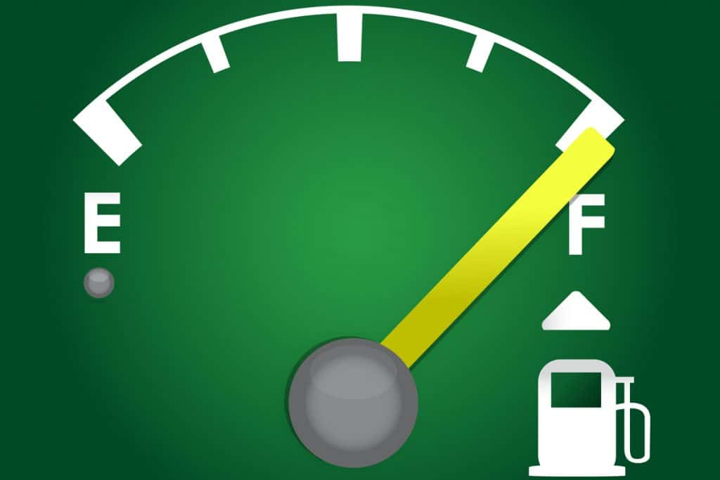 An infographic of a gas gauge pointed at full