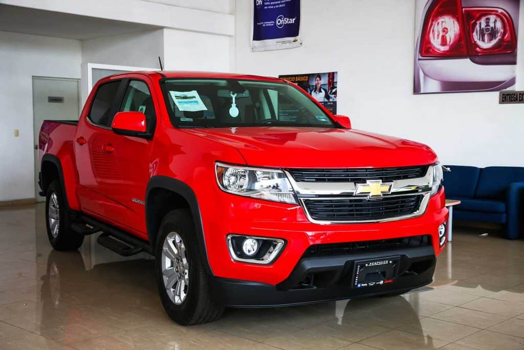 Brand new pickup truck Chevrolet Colorado in a dealership