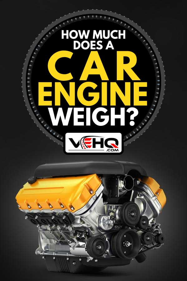 A v8 car engine on black gradient background, How Much Does a Car Engine Weigh?