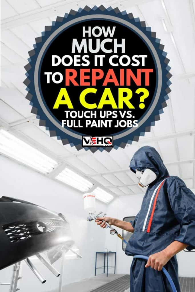 worker painting a car black blank parts in special garage, wearing costume and protective gear, How Much Does it Cost to Repaint a Car? [Touch Ups vs. Full Paint Job)